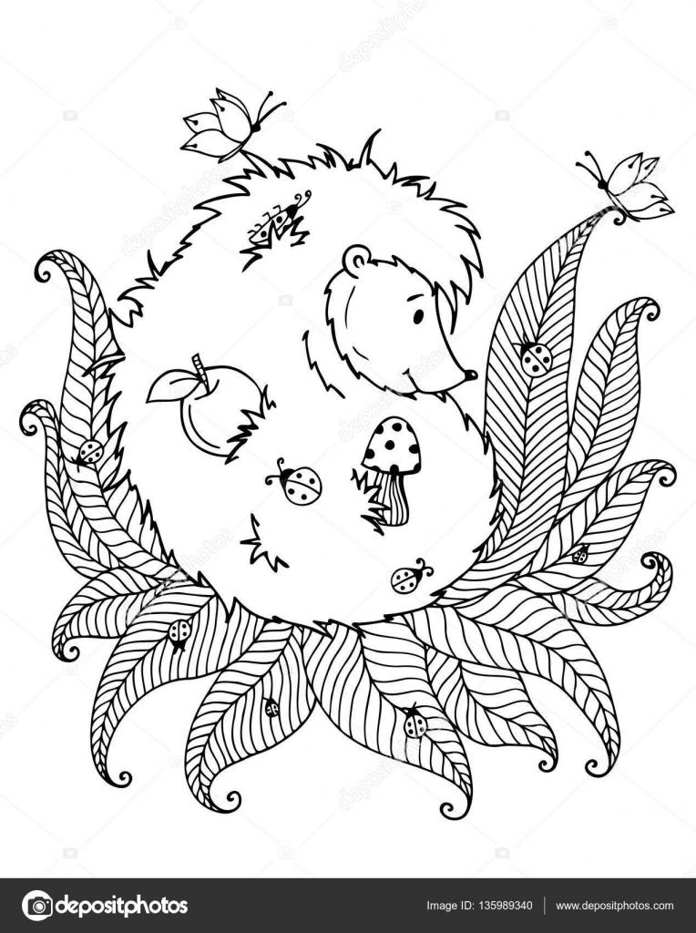 Vector ilustración zentagl, erizo y la mariquita. Doodle de dibujo ...