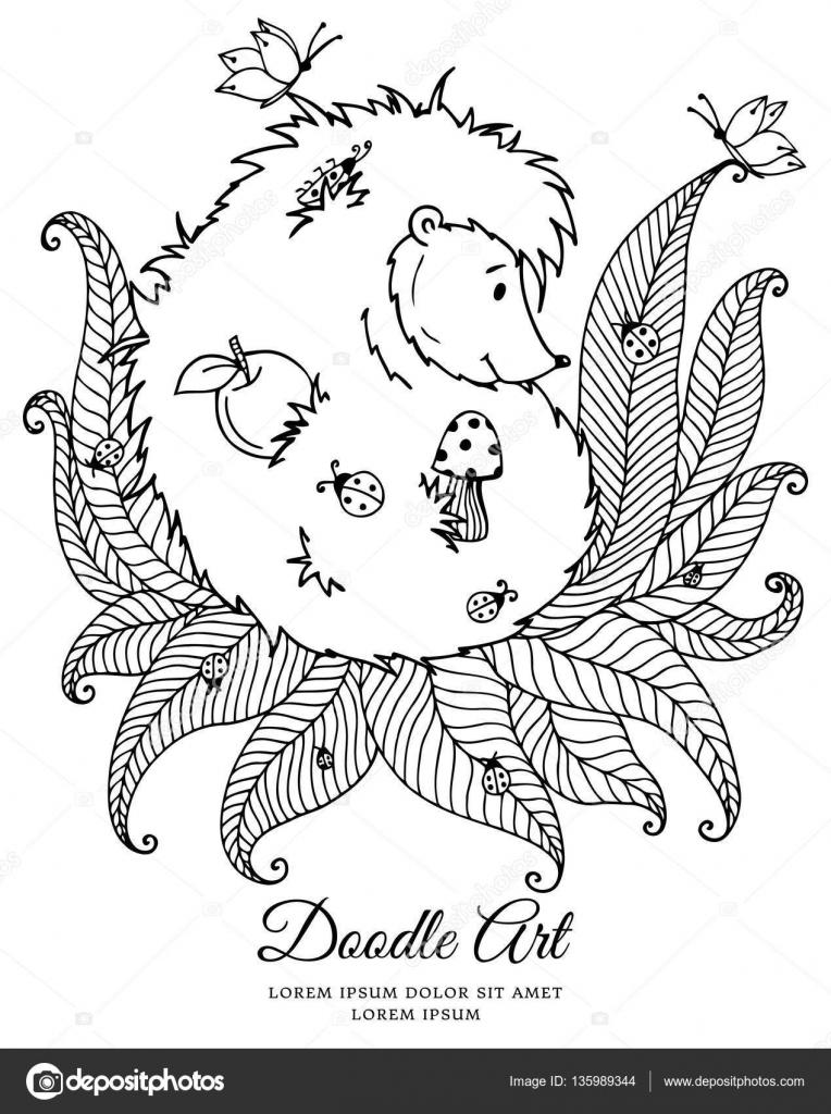 vector illustratie zentagl egel en lieveheersbeestje
