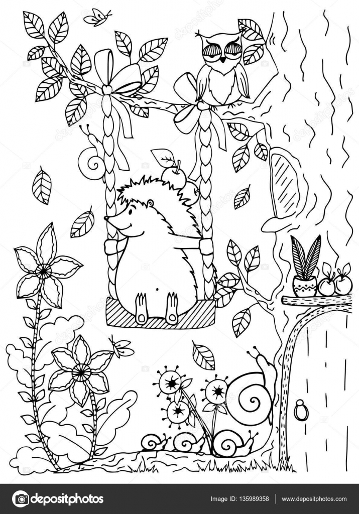 Doodle Illustration Dun Hérisson Sur Une Balançoire Vector