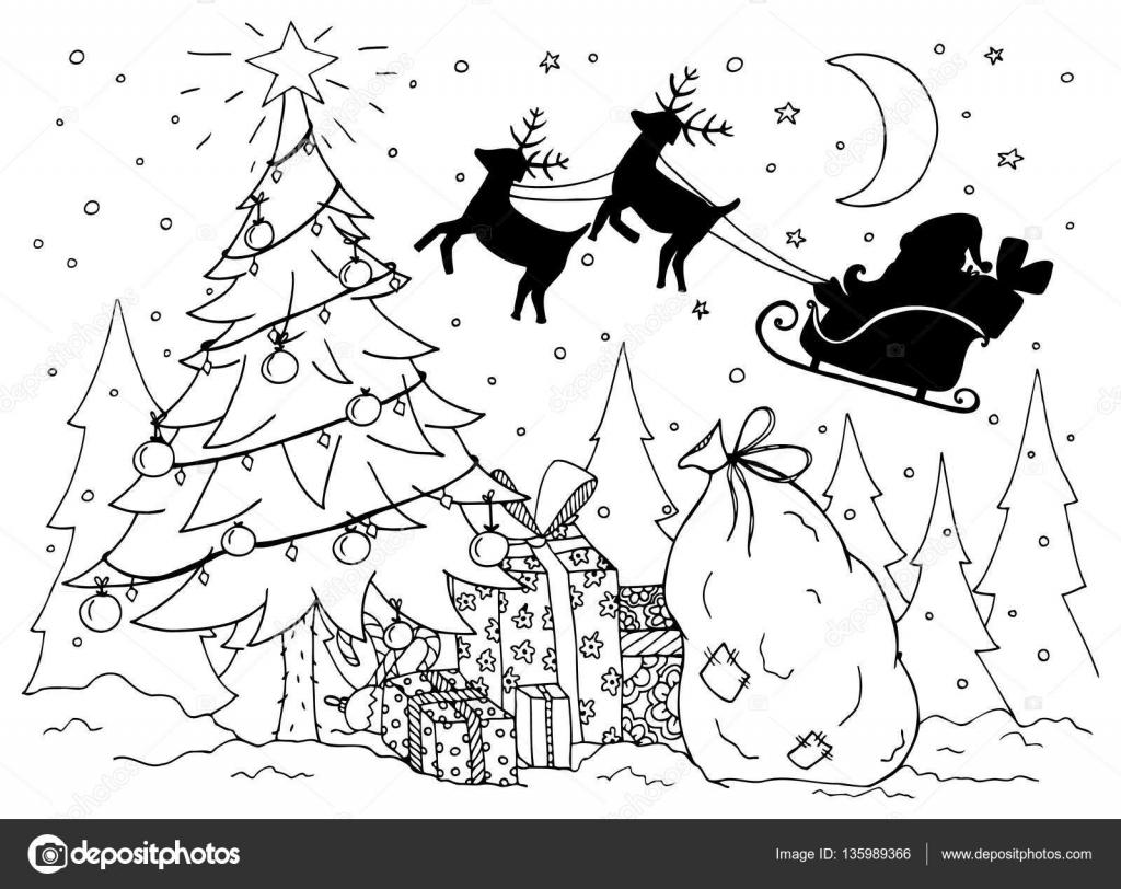 Doodle ilustración de Santa en un trineo con renos. Año nuevo ...