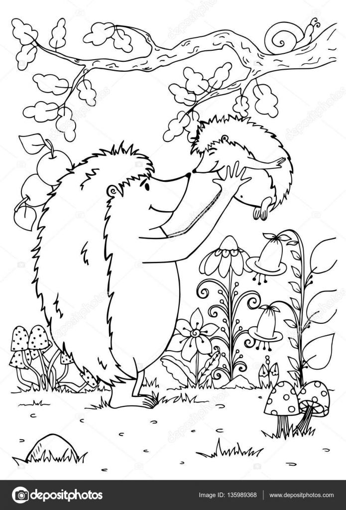 Doodle ilustración de erizo madre y bebé. Vector. Para colorear ...