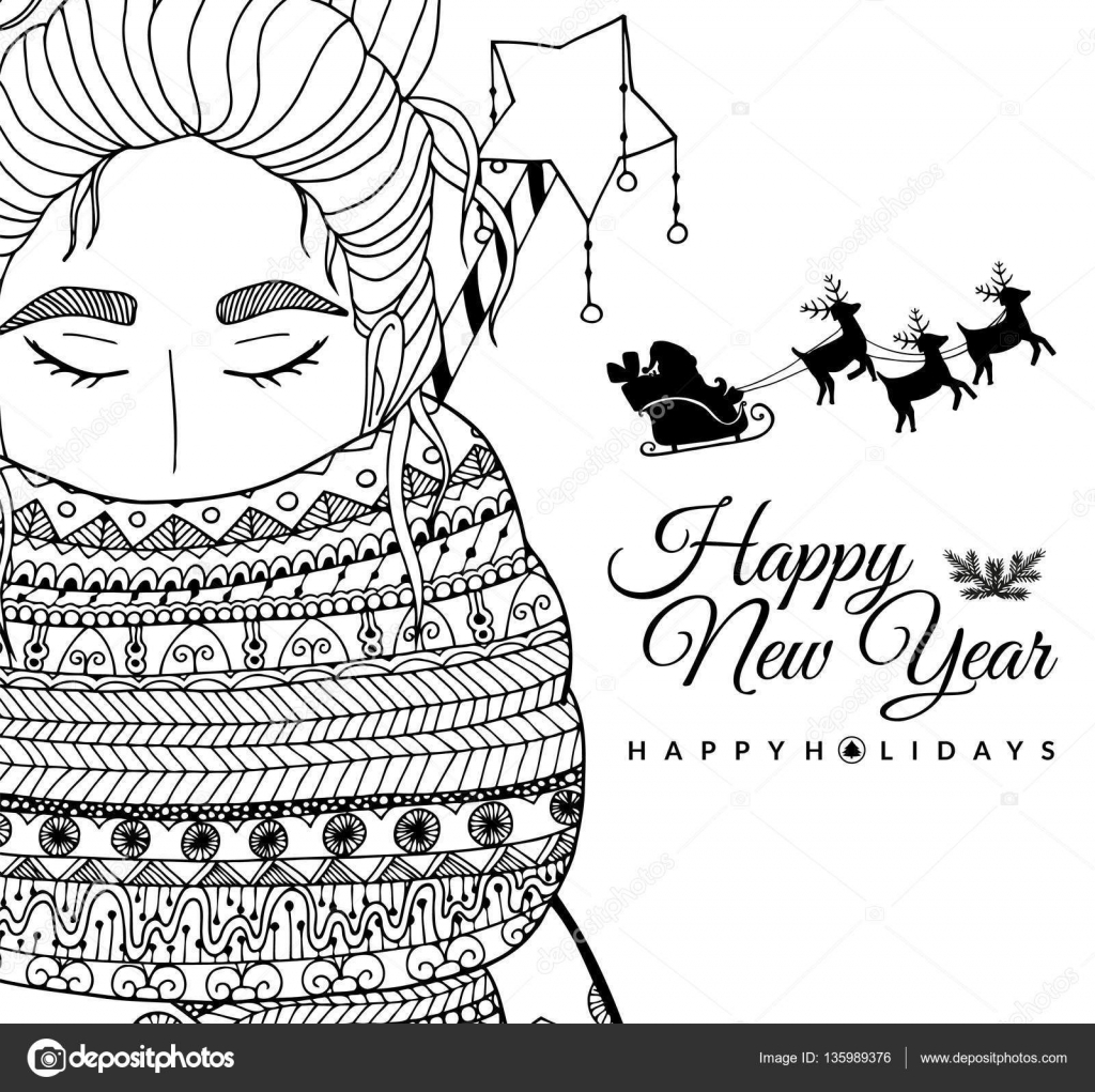 Fille de Doodle illustration carte Santa Nouvel an Vector Coloriage stress Anti page pour adultes et enfants Noir blanc — Vector by Tanvetka