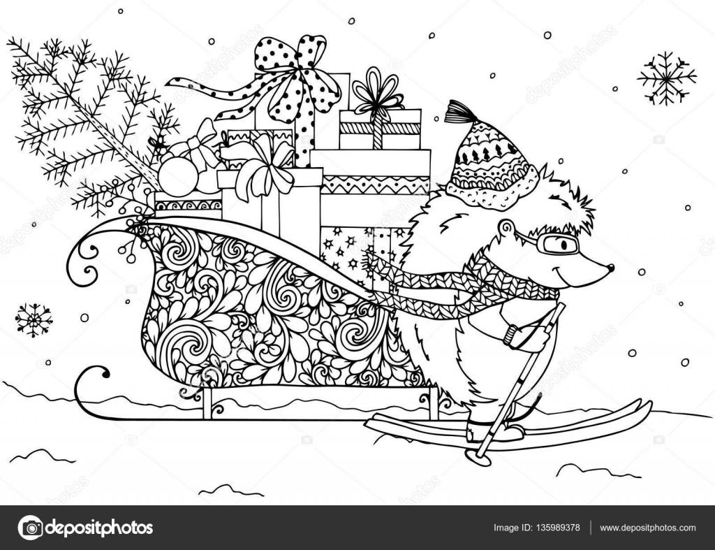 Vector Illustration Herisson Et Traineaux Avec Des Cadeaux De Noel