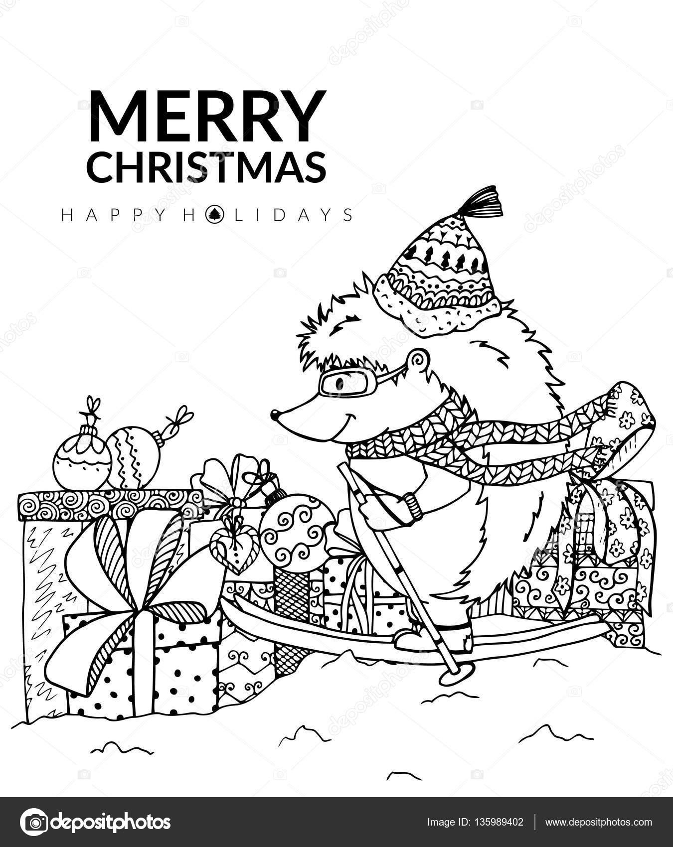 Kerst Vectorillustratie Egel En Geschenken Doodle Tekening