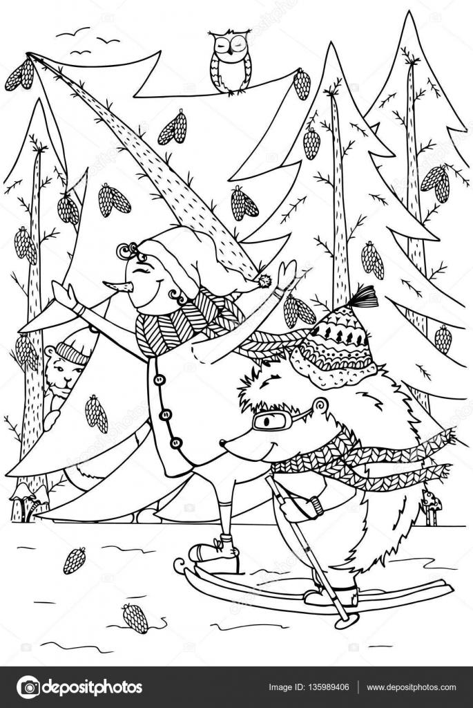 Skate de muñeco de nieve y erizo de ilustración de Doodle. Año nuevo ...