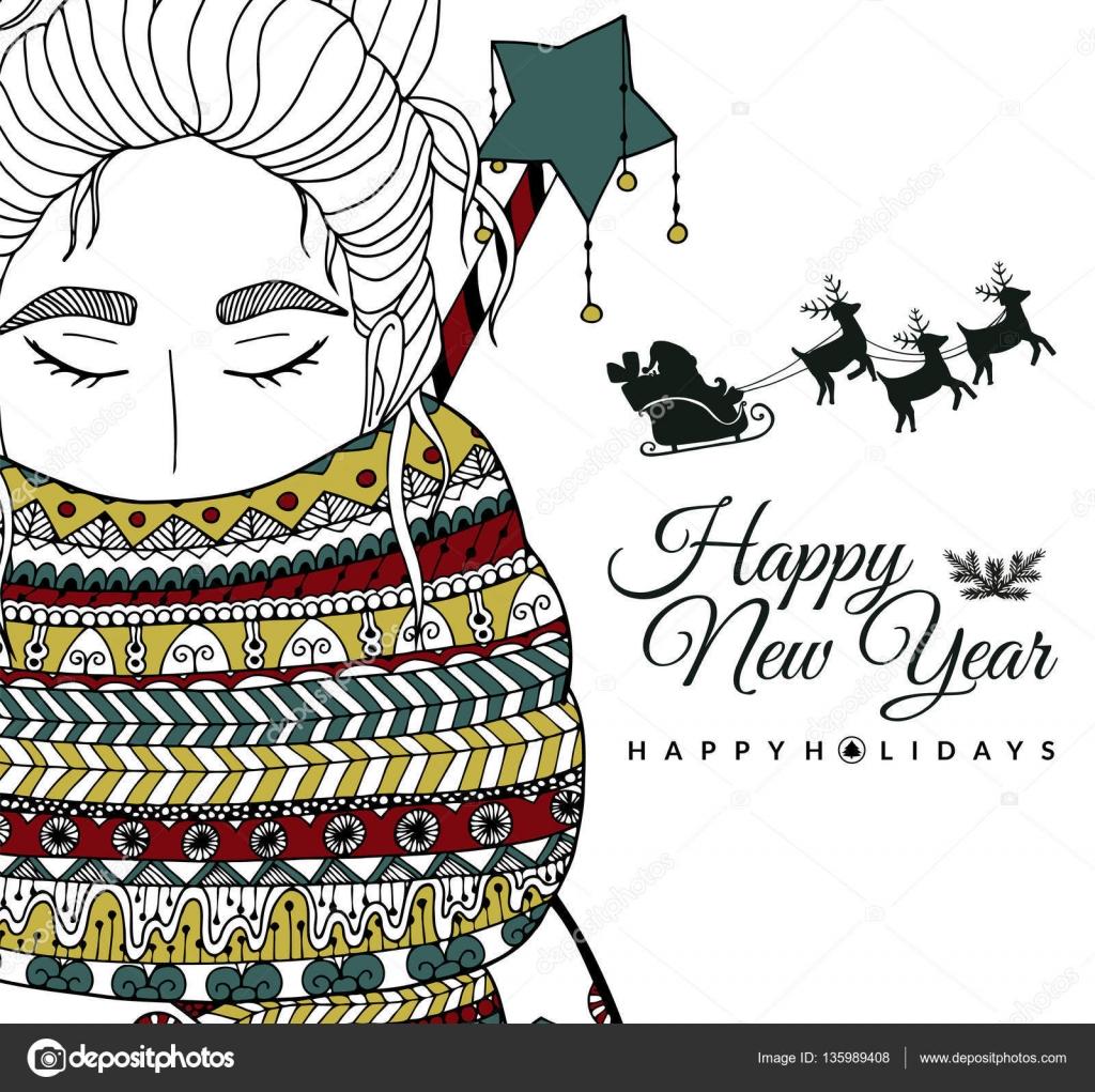 Doodle Illüstrasyon Kart Kız Noel Baba Yeni Yıl Vektör Sayfa Anti