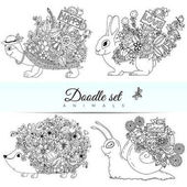 Fotografie Vector doodle illustration set of animals. Coloring book is anti-stress for adults and children. Black  white.