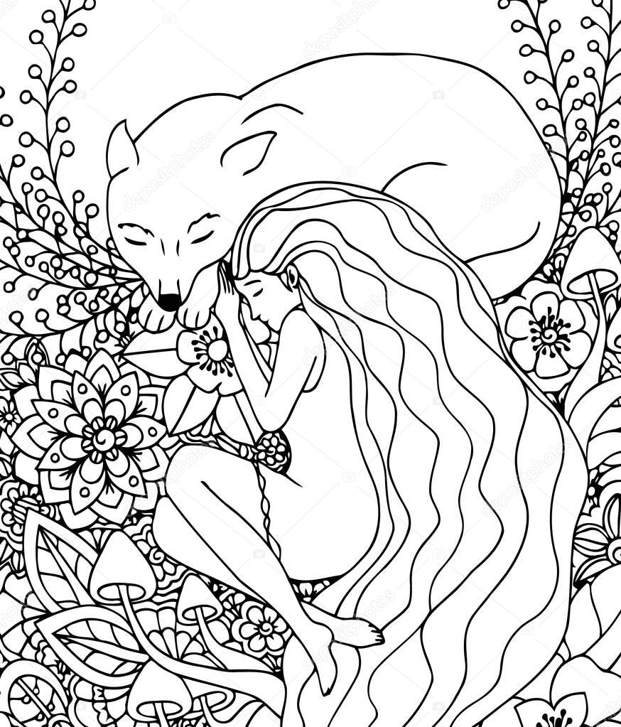 Vector illustration Zen Tangle girl and the wolf sleeping in the flowers. Doodle drawing. Meditative exercises. Coloring book anti stress for adults. Black white.