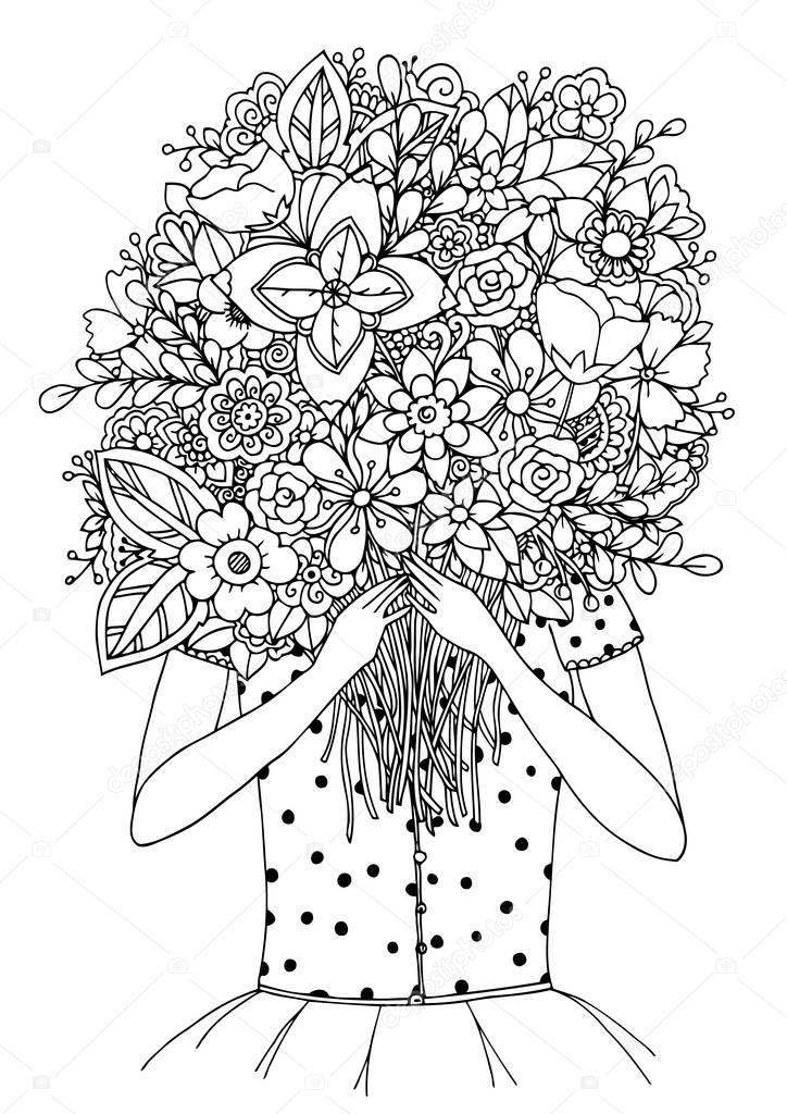 vector illustratie zentangl meisje en een boeket bloemen