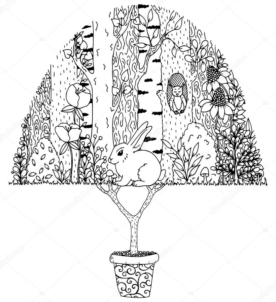 Vector illustration zentangl, hare in the forest. Doodle drawing. Meditative exercises. Coloring book anti stress for adults. Black white.