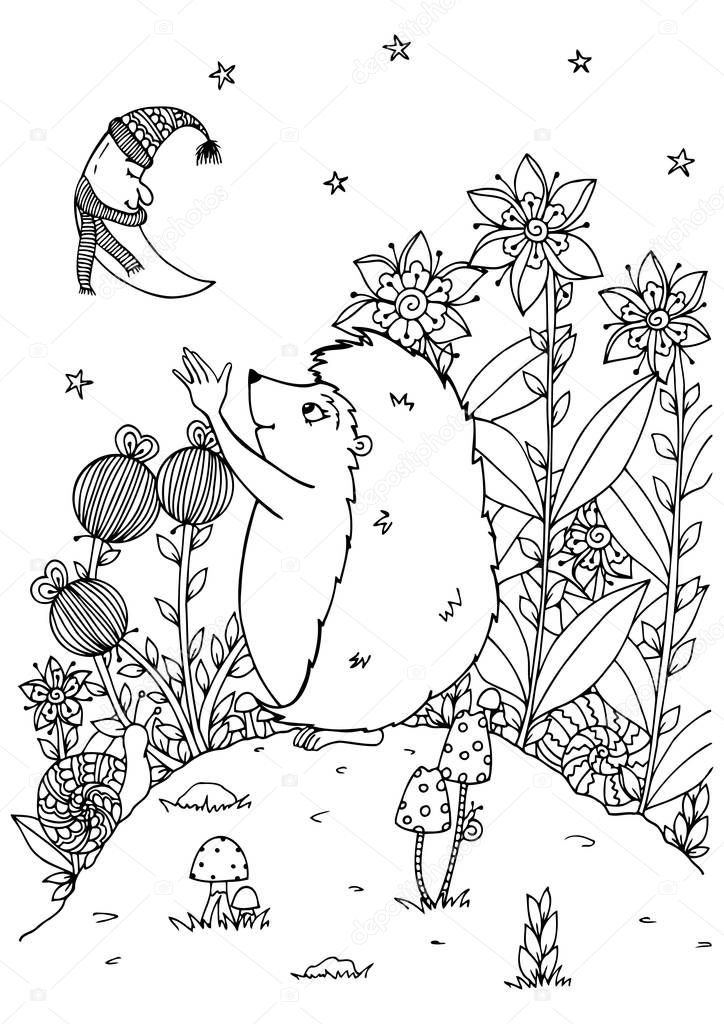 Vector illustration zentagl, the hedgehog and the new moon. Nature. Doodle drawing. Meditative exercises. Coloring book anti stress for adults  children. Black white.