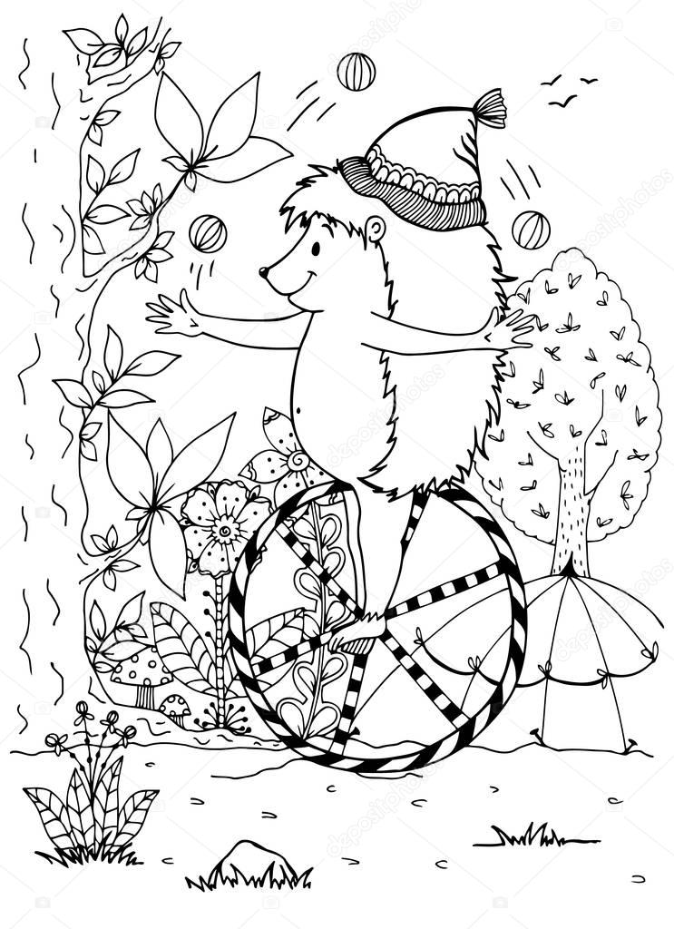 Vector illustration zentagl, hedgehog circus actor. Doodle drawing. Meditative exercises. Coloring book anti stress for adults and children. Black and white.