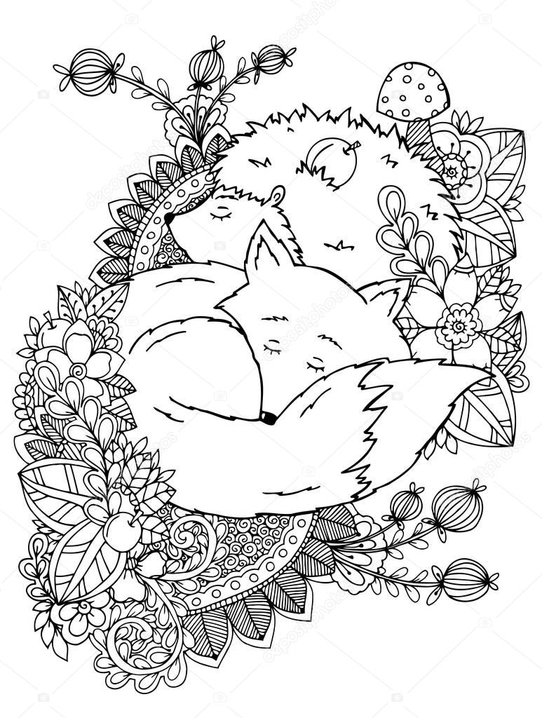 Vector illustration zentagl, hedgehog and fox sleeping in the flowers. Doodle drawing. Meditative exercises. Coloring book anti stress for adults  children. Black white.