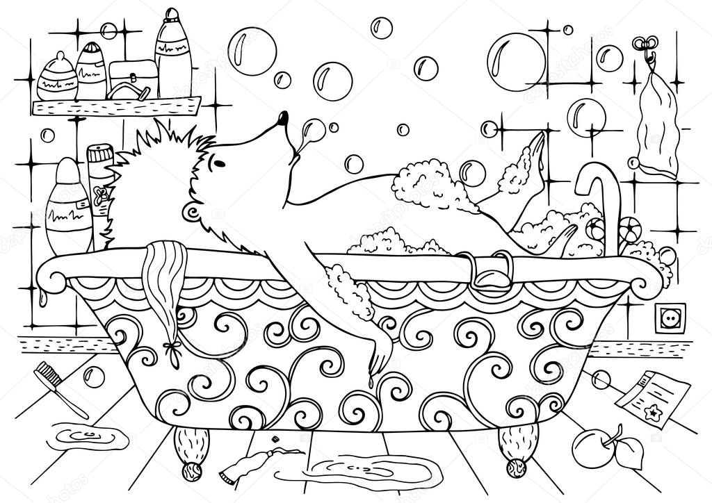 Doodle illustration of a hedgehog is bathed in the bath. Vector. Coloring page Anti stress for adults and children. Black and white.