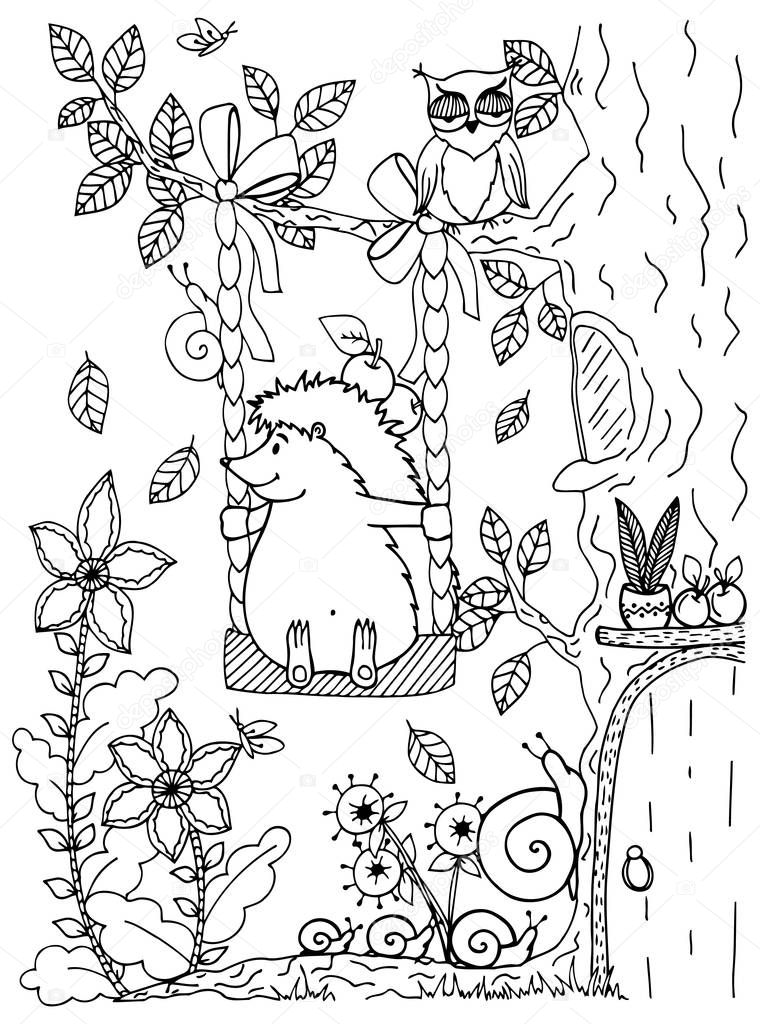 Doodle illustration of a hedgehog on a swing. Vector. Coloring page Anti-stress for adults and children. Black and white.