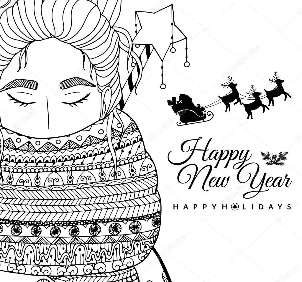 doodle afbeelding kaart meisje santa nieuwjaar vector
