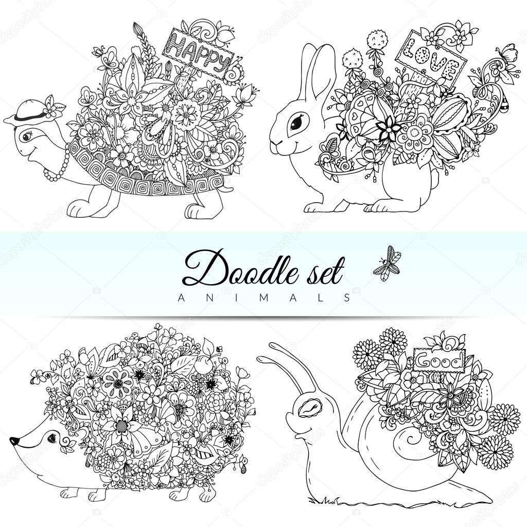 Vector doodle illustration set of animals. Coloring book is anti-stress for adults and children. Black  white.