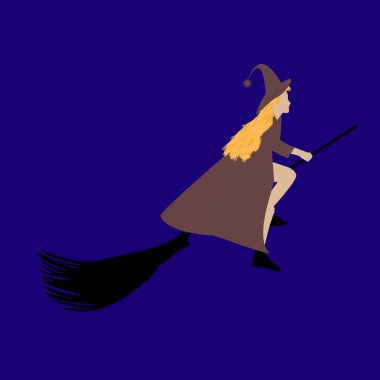 Witch flying on a broom on Halloween, flat style
