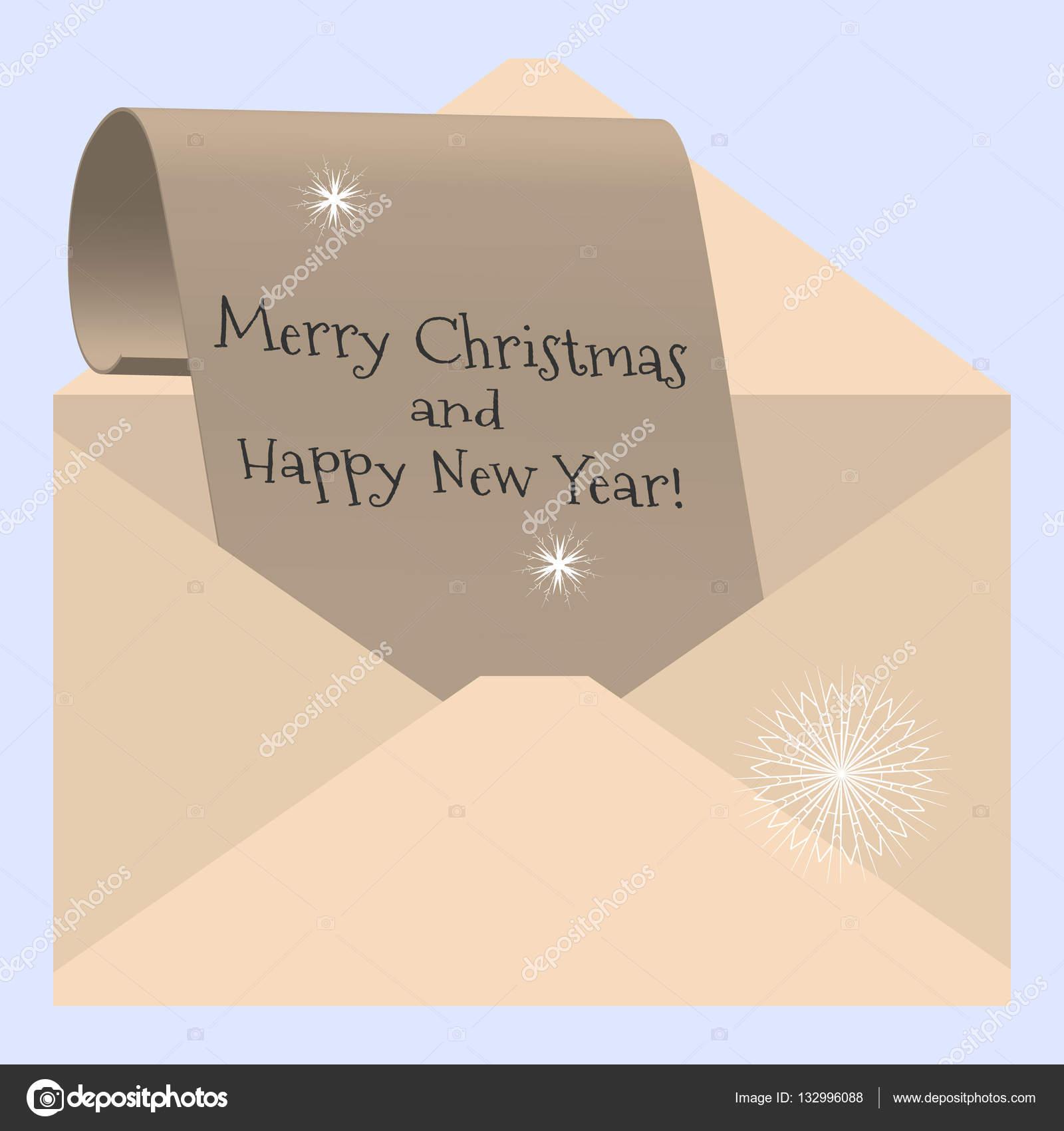 Carta De Felicitaciones De Navidad Y Ano Nuevo.Vector Carta Navidad Vector Ilustracion Felicitaciones