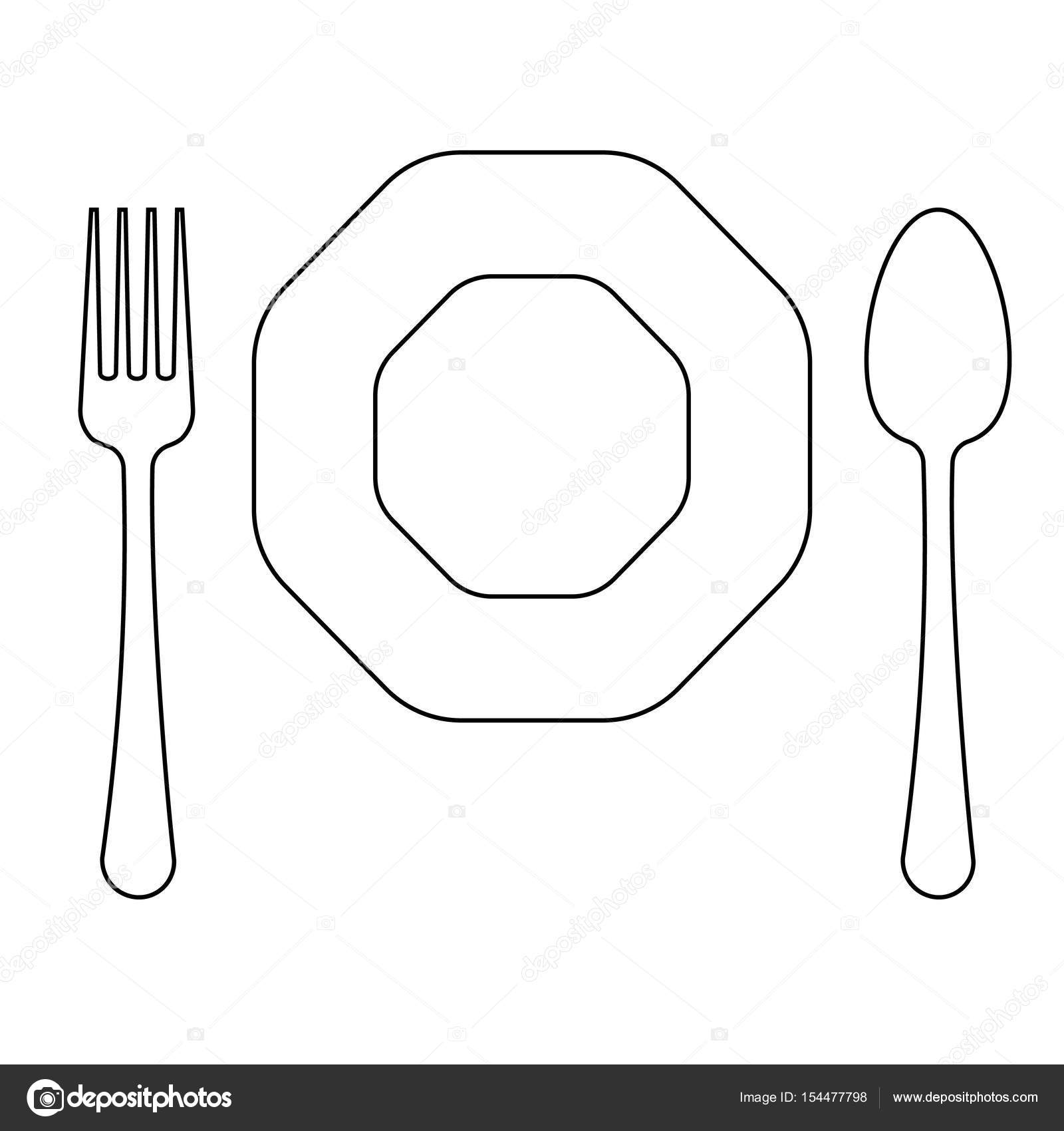 Vector Drawing Lines Disappear : Vector drawing of thin line fork octagonal plate and