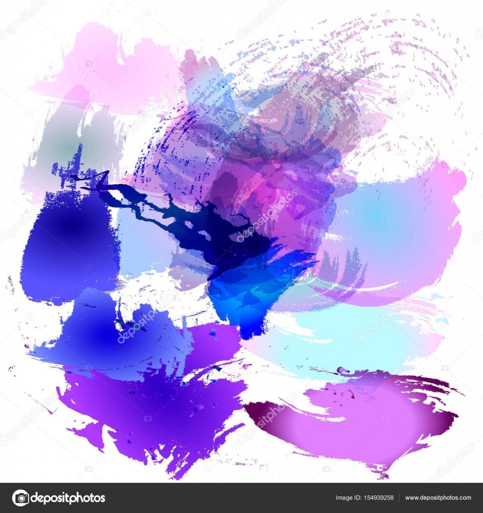 Ilustracion De Vector De Trazos De Pincel Acuarela De Flores Azules