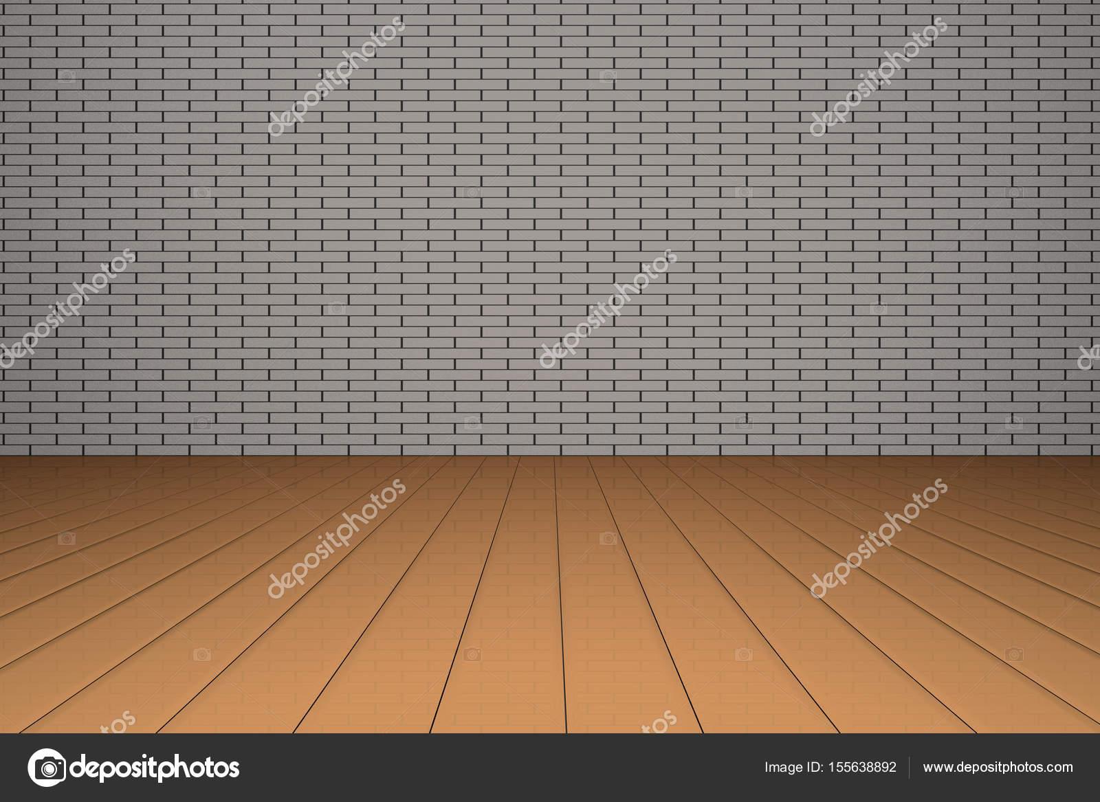 Muur Plank Voor Schilderijen.Illustratie Van Een Grijs Wit Muur En Bruine Vloer Ruimte Voor Het
