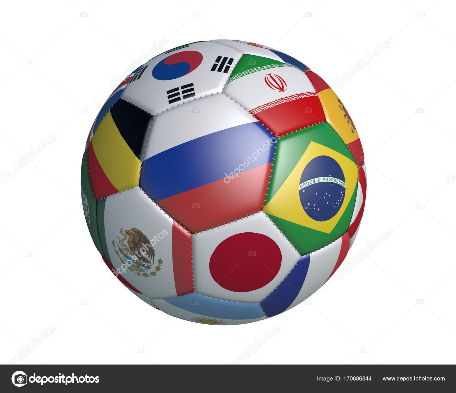 Isolierte Fußball mit Farben Flaggen der Staaten, die Teilnahme an ...