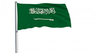 Flag of Saudi Arabia on a flagpole fluttering in the wind on a white background, 3d rendering