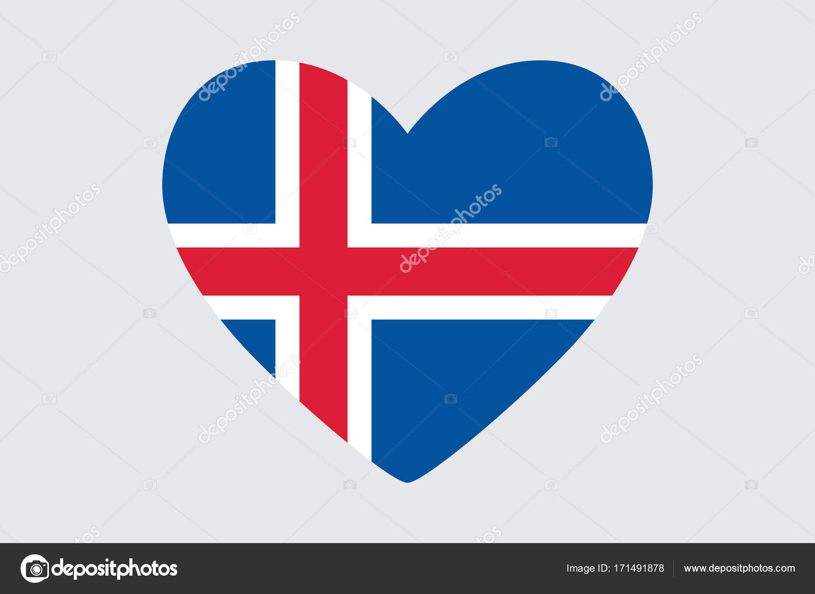 Heart In Colors And Symbols Of The Iceland Flag Vector Stock