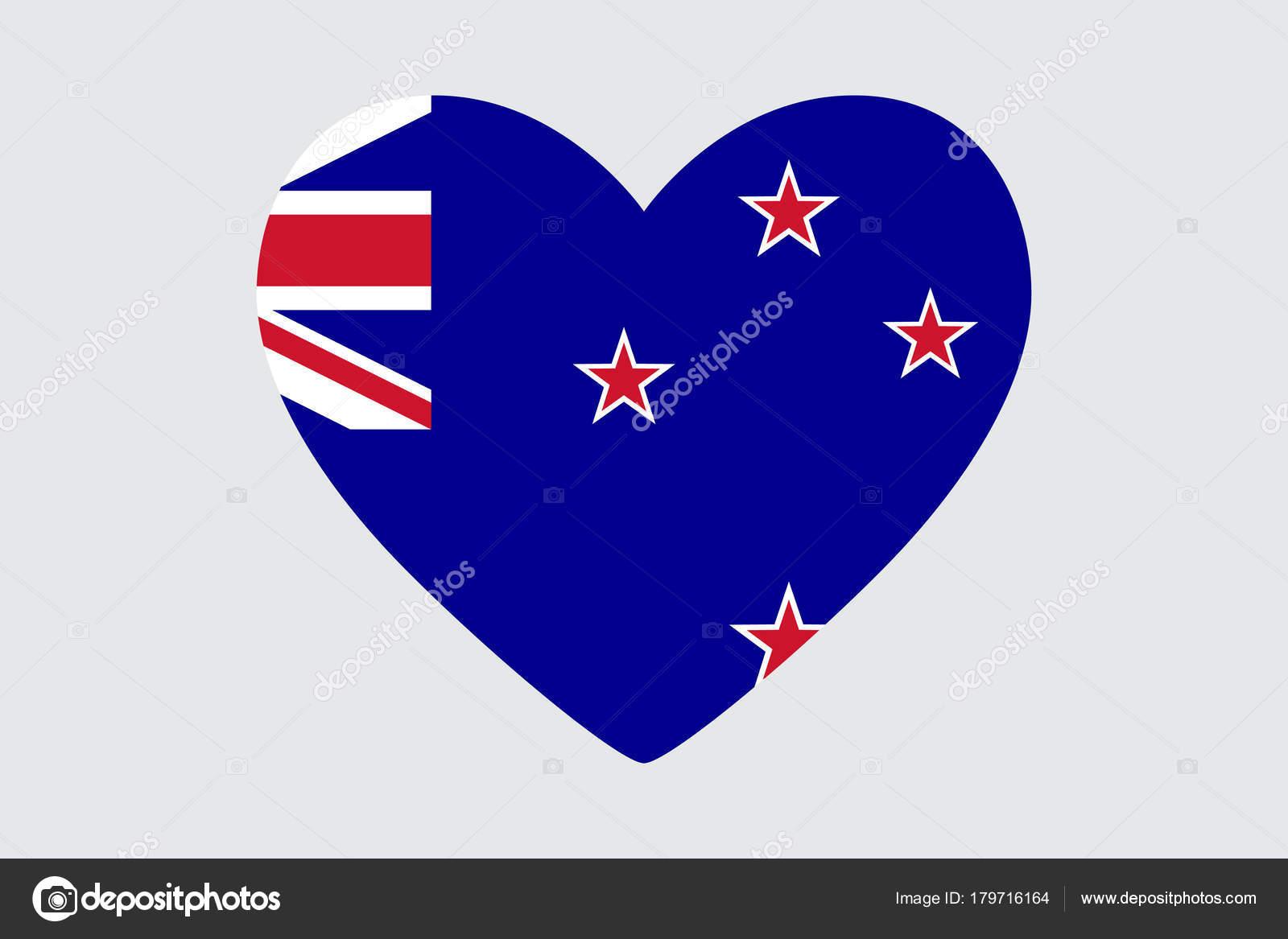 Corazón para colorear bandera de Nueva Zelanda — Archivo Imágenes ...