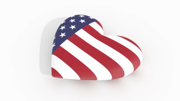 Pulsing heart in US flag colors casting a shadow on a white surface, 3d rendering
