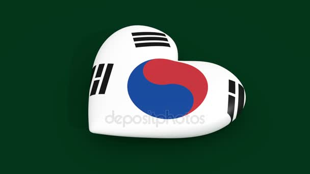 Pulsating heart in the colors of the South Korea flag, 3d rendering, loop