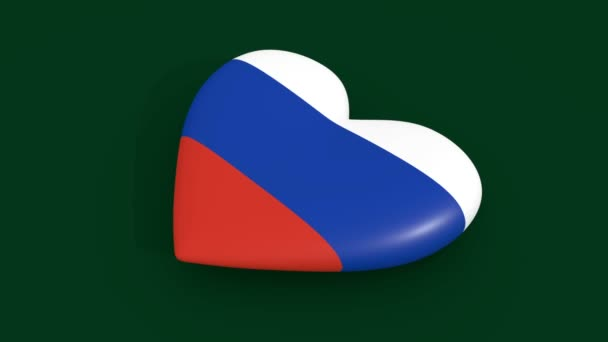 Pulsating heart in the colors of Russia flag, on a green background, 3d rendering, loop