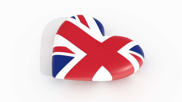 Pulsating heart in the colors of United Kingdom flag, on a white background, 3d rendering, loop