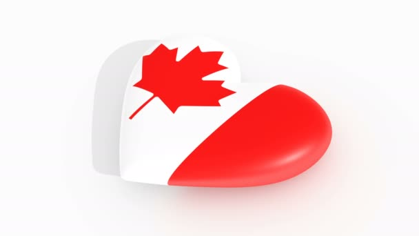 Pulsating heart in the colors of Canada flag, on a white background, 3d rendering, loop