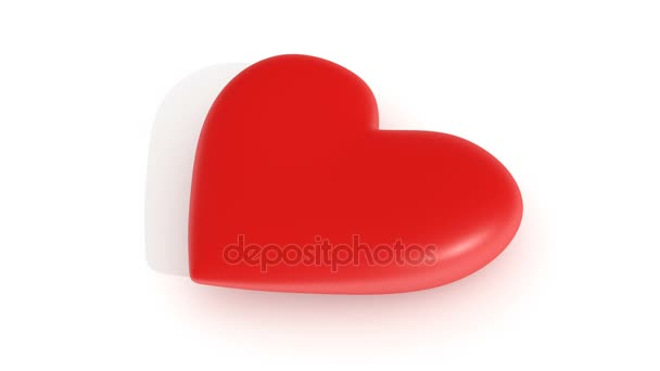 Pulsating red heart on a white background, 3d rendering, loop