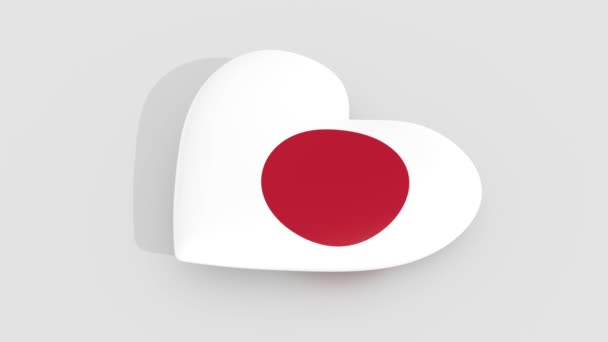 Pulsating heart in the colors of Japan flag, on a white background, 3d rendering, loop