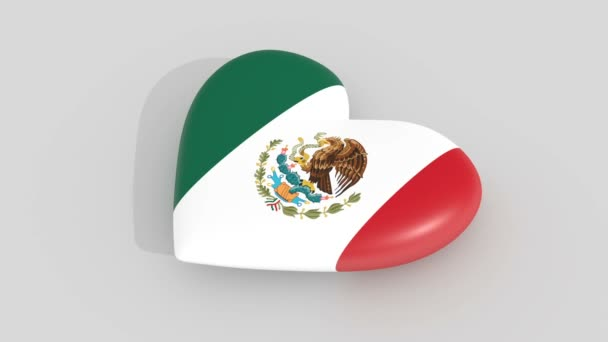 Pulsating heart in the colors of Mexico flag, on a white background, 3d rendering, loop