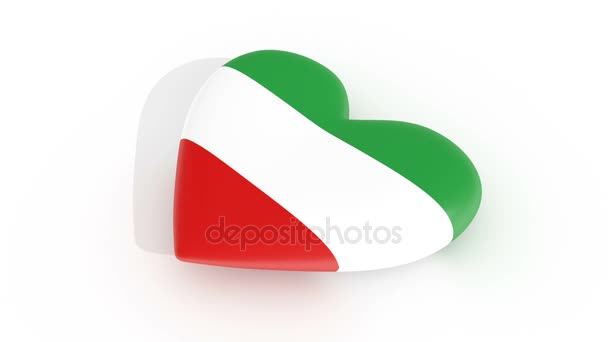 Pulsating heart in the colors of Iran flag, on a white background, 3d rendering, loop