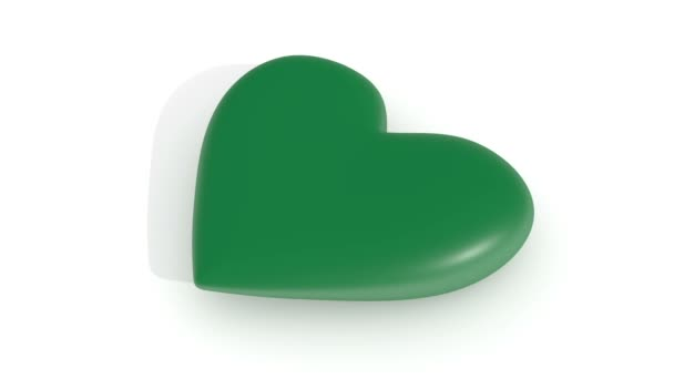 Pulsating green heart on a white background, 3d rendering, loop