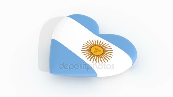 Pulsating heart in the colors of Argentina flag, on a white background, 3d rendering, loop