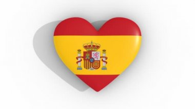 Pulsating heart in the colors of Spain flag, on a white background, 3d rendering top, loop