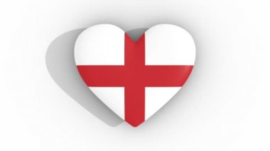 Pulsating heart in the colors of England flag, on a white background, 3d rendering top, loop