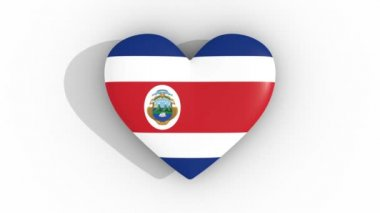 Pulsating heart in the colors of Costa Rica flag, on a white background, 3d rendering top, loop