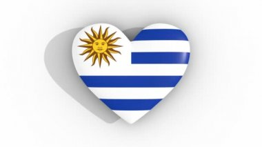 Pulsating heart in the colors of Uruguay flag, on a white background, 3d rendering top, loop