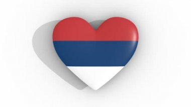 Pulsating heart in the colors of Serbia flag, on a white background, 3d rendering top, loop