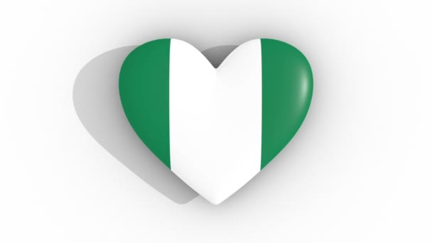 Pulsating heart in the colors of Nigeria flag, on a white background, 3d rendering top, loop