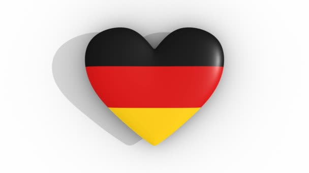 Pulsating heart in the colors of Germany flag, on a white background, 3d rendering top, loop