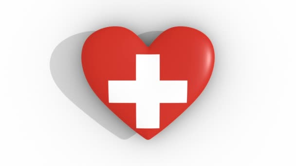 Pulsating heart in the colors of Switzerland flag, on a white background, 3d rendering top, loop