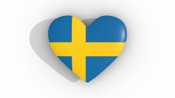 Pulsating heart in the colors of Sweden flag, on a white background, 3d rendering top, loop